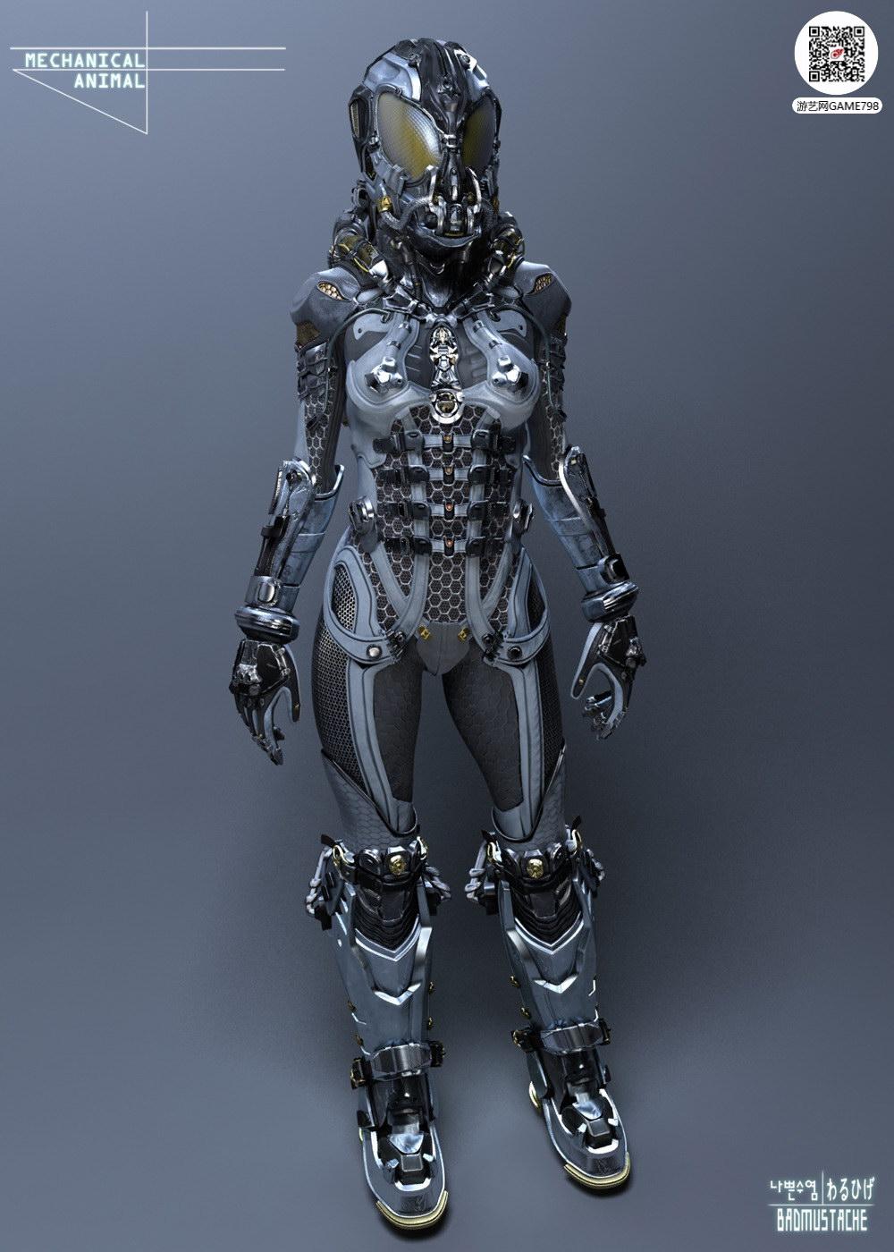 机甲美女3D模型下载