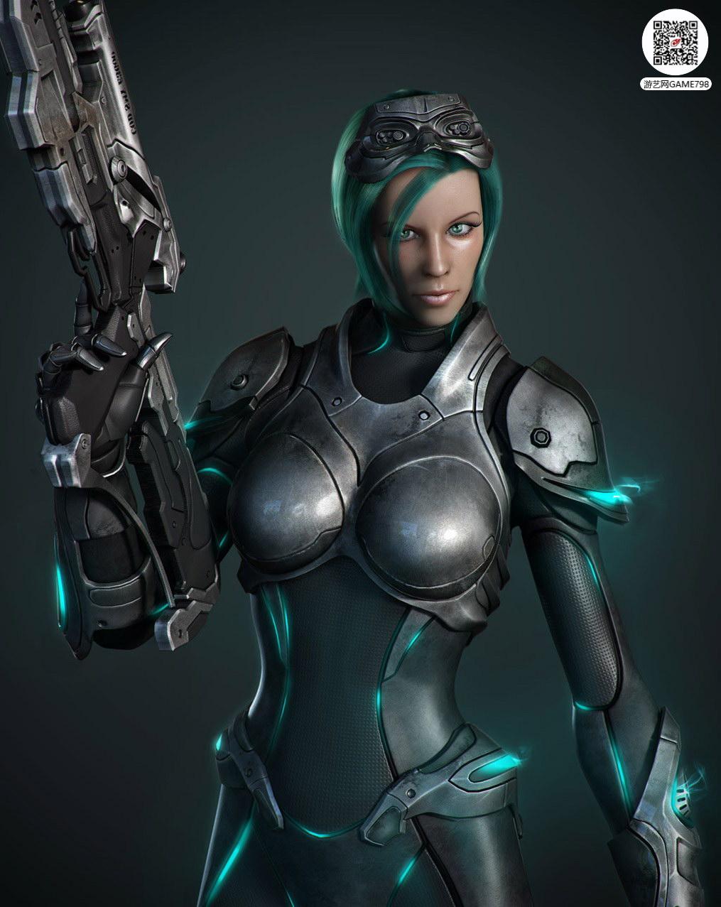 科幻风美女3D次世代模型下载