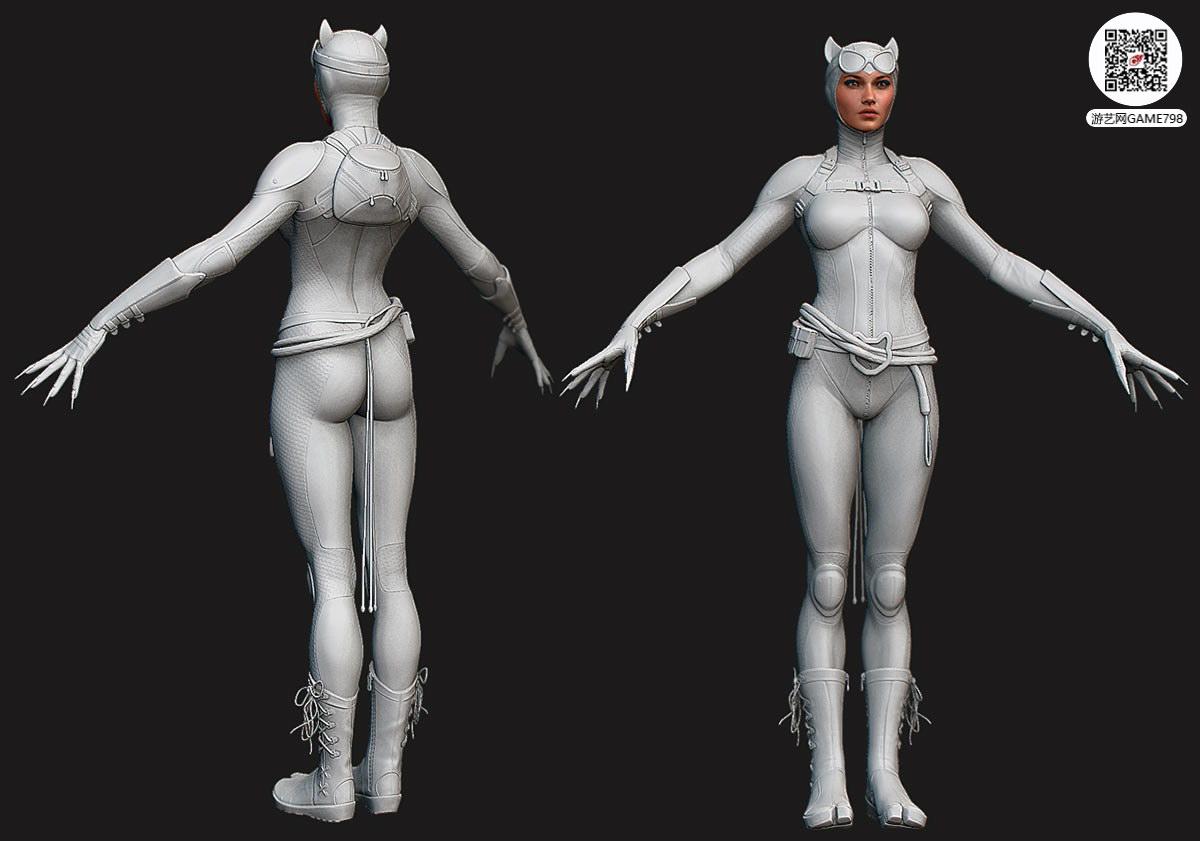 次世代游戏猫女3D模型PBR下载