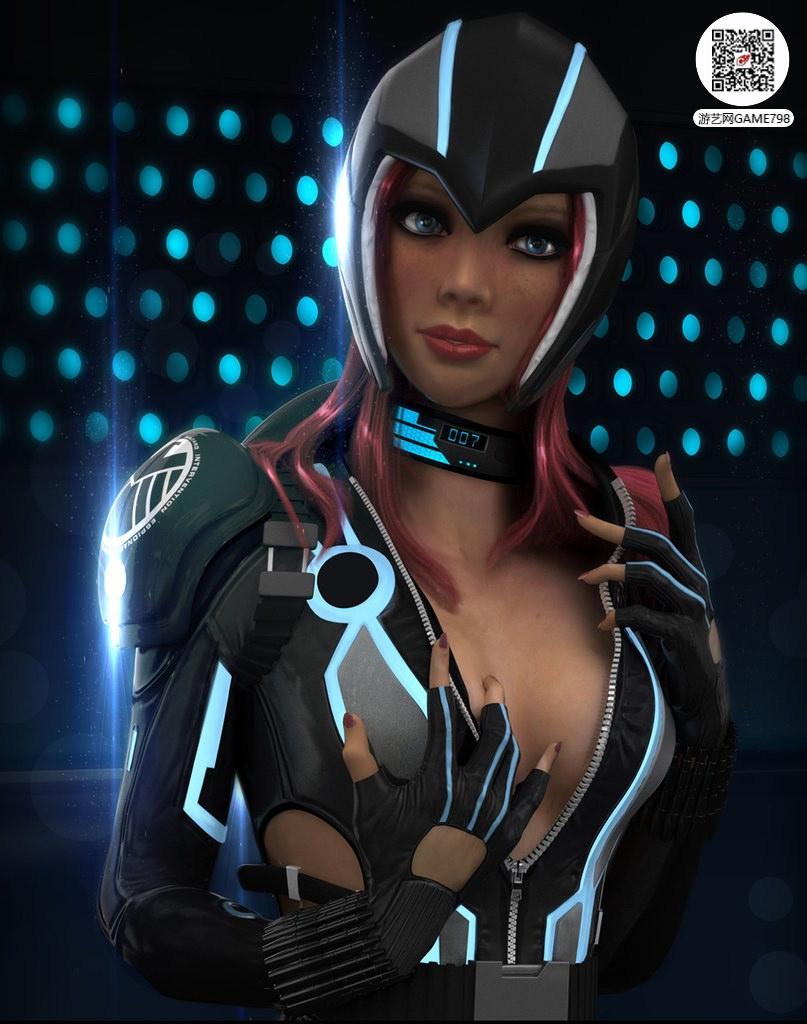 科幻风格美女3D模型下载