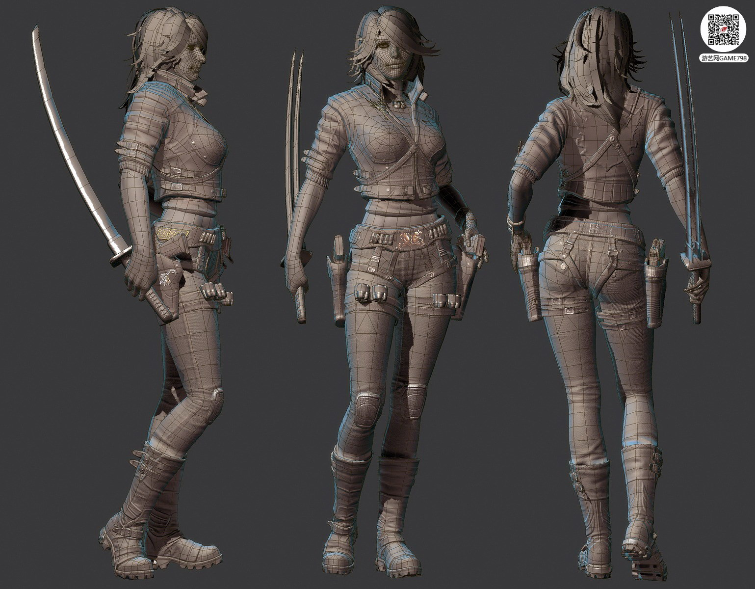 清纯少女3D模型